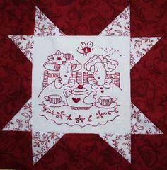 redwork quilts | Patchwork- und Quiltforum - - Bilder Redworkblöckchen