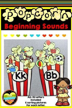 Your kindergarten students will LOVE working on letter sounds with this fun popcorn themed literacy center that you can use all year long! In this printable phonics game, students will match colorful pictures with the letters for the corresponding beginning sounds. Each letter of the alphabet has 6 pictures representing the initial sounds, so students will have fun matching them all during centers time! #fromkindgartenwithlove #kindergarten #literacycenters #phonicsactivities