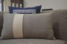 Felt Pillow Cover, Grey Euro Sham, Gray Lumbar Ivory Pillow, Two Tone Color Block Pillow, Gray Bold Striped Pillow Light Grey Cushion Gift.