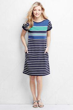 Women's Short Sleeve Boatneck Shift Dress - Pattern from Lands' End