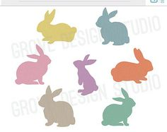 Linen Textured Bunnies Clipart, INSTANT DOWNLOAD, Easter Clipart, Digital Clipart, Set of 35, digital files, png, rabbits