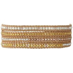 Chan Luu 32' Gold Mix/Beige Nugget Wrap Bracelet ($230) ❤ liked on Polyvore featuring jewelry, bracelets, indian gold jewelry, gold bead bracelet, 18k gold bangle, indian bracelet and adjustable bracelet