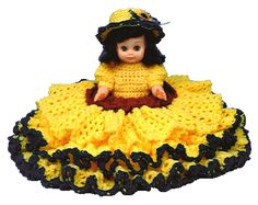 "Crochet Bed Doll Pattern 13"" Sunflower"