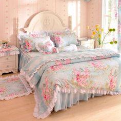 Wholesale Korean bedding 100% laciness cotton set unique bedroom sets flower style princess printed full, Free shipping, $108.68/Set | DHgate