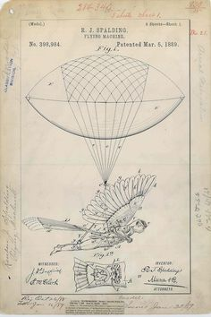 Beautiful patent drawing for R. Spalding's Flying Machine, Complement with the illustrated history of human flight and 100 diagrams that changed the world. Fine Art Prints, Framed Prints, Canvas Prints, Machine Volante, Retro, Images Vintage, Large Format Printing, Patent Drawing, Science Photos