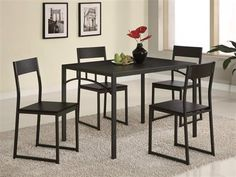 Contemporary Cappuccino Wood 5pc Pack Counter Height / Bar Set