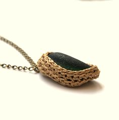 Green sea glass necklace boho jewelry bib bronze chain pendant autumn fall beach Weddings Birthday Thanksgiving Christmas gift OOAK. $20,00, via Etsy.