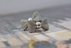 CUTE Bow Silver Earrings Little Bow Studs by PrettyDifferentShop