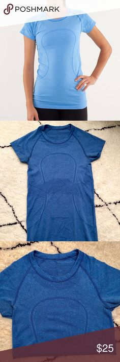 Lululemon run swiftly crew neck - rarely worn! SEAMLESS CONSTRUCTION  No side seams—seamless construction in the body minimizes chafing.  lightweight no side seams four-way stretch SILVERESCENT® TECHNOLOGY  Silverescent® technology, powered by X-STATIC®, inhibits the growth of odour-causing bacteria on this garment  anti-stink lululemon athletica Tops Tees - Short Sleeve
