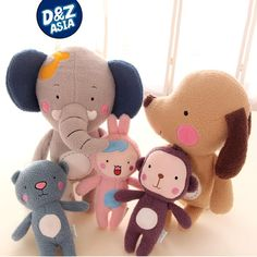 Authentic Korean cartoon jungle bear plush toy monkey forest elephant animals plush doll gift for children