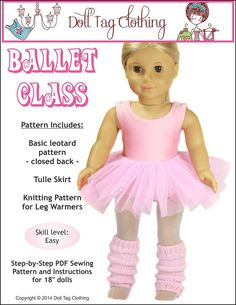 Pixie Faire Doll Tag Clothing Ballet Class Bundle Doll Clothes Pattern for 18 inch American Girl Dolls - PDF by PixieFairePatterns on Etsy