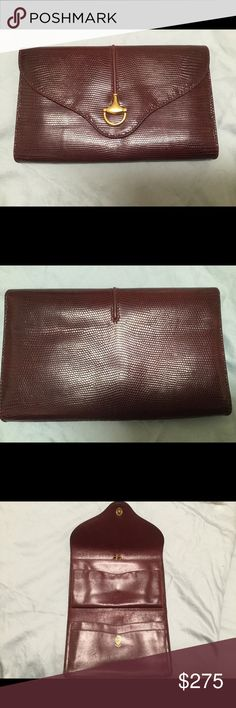 28ff2405baf4 Vintage Gucci Lizard Continental Wallet My eBay username is SittingBully.  Find this there.