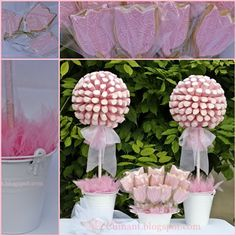 Cuinant: Arbol de Chucherias y Galletas con Fondant Cuinant: Bauble and Cookie Tree with Fondant Shower Bebe, Baby Shower Fun, Balloon Decorations, Birthday Decorations, Pink Candy Table, Gift Wrapping Bows, Barbie Theme, Sweet Corner, Sweet Trees
