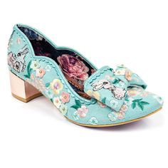 We have gone hopping mad for these super cute floral and bunny themed mid heels, featuring a metallic look rose gold heel, embroidered floral upper with embroidered baby bunny rabbits, a scallop trim, matching bow and a scattering of tiny flower embellishments.