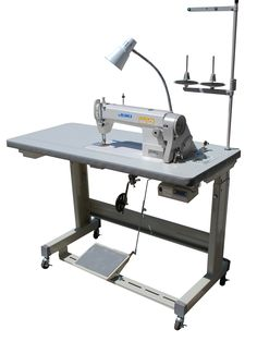 Juki DDL-5550N Industrial Sewing Machine with servo motor and L wheeled legs