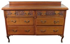 "Antique Queen Anne Mahogany Buffet Sideboard Server - traditional - Buffets And Sideboards - MBW Furniture Width 60.5""  Depth 19.75""  Height 41.25"""