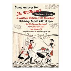 Vintage Retro Barbecue Party Invitation