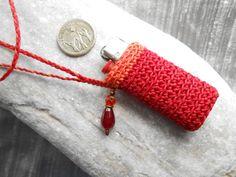 Lighter case necklace bright red & orange with red Jade gem