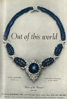 Wonder where this spectacular necklace is today? February 1966; J. & S. S. DeYoung
