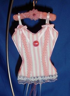 Candy Stripes UNDERMENTS Christmas Lingerie Ornament Decoration OOAK Handmade  (seller i.d. elina133)