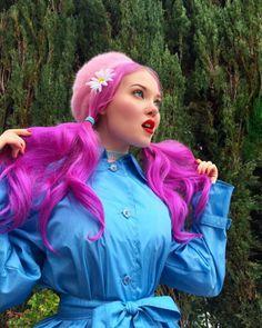 """color-head: """" Doe Deere """" Mint Hair, Neon Hair, Yellow Hair, Purple Hair, Retro Hairstyles, Unique Hairstyles, Doe Deere, Two Toned Hair, Editorial Hair"""
