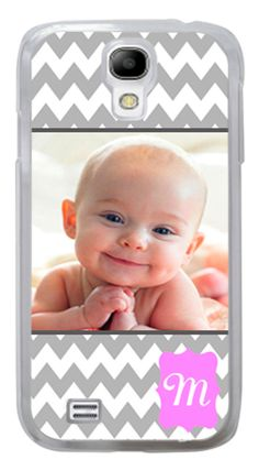 PERSONALIZED MONOGRAM SAMSUNG GALAXY S3 or S4  GREY CHEVRON PHOTO CASE #Samsung