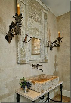 Ginger Barber via Cote de Texas - rustic vessel sink + iron vanity and sconces Baños Shabby Chic, Stone Sink, Enchanted Home, Vessel Sink, Trough Sink, Glass Vessel, Wall Treatments, Beautiful Bathrooms, Bathroom Inspiration