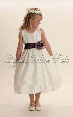 Move your mouse over image or click to enlarge  Stunning Ball Gown Tea-length Jewel White Satin Dress