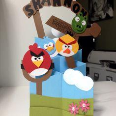 Angry birds cascading punch art birthday card.