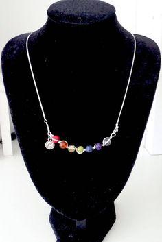 Yin&Yang symbol chakra pendant with necklace, seven-chakra-balancing wire wrapped pendant, chakra gemstones, handmade clasp, chakra jewelry