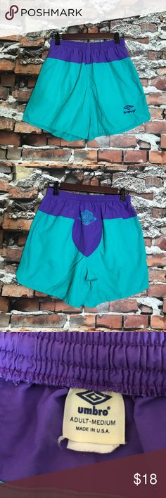 "VTG Umbro Neon Nylon Outdoor Athletic Shorts M VTG Umbro Neon Purple Teal Nylon Outdoor Athletic Pull On Shorts Adult Medium  *Good Used Condition.  Measurements: 24"" Waist Unstretched 5"" Inseam 10"" Rise Umbro Shorts Athletic"