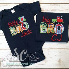 Big Brother Shirt - Little Brother Outfit - Big BRO - Little BRO NAVY Shirt - Sibling Shirts - Baby Boy Shower Gift - Newborn Photos