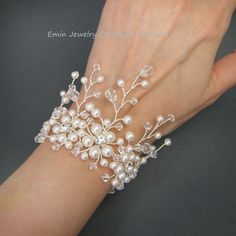 Bridal Bracelet White Pearl Rhinestone Bracelet by eminjewelry, $75.00