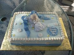 Precious Moments Babtism Cake Babtism cake for a baby boy, iced in buttercream with fondant bow & accents. Communion Cakes, First Communion, Precious Moments, Dedication Ideas, Party Themes, Party Ideas, Baby Girl Baptism, Fondant Bow, Cupcake Cookies