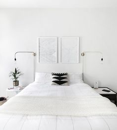 minimal art above bed
