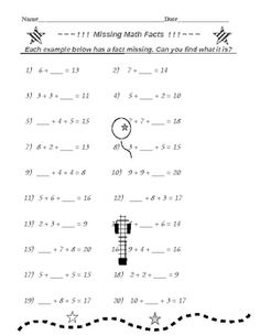 ADDITION FACTS MISSING - FREE!!   Download these TWO FREE worksheets on ADDITION FACTS!   I'm offering these FREE in the hopes you will look at some of my other products - - -SEVERAL LINKS ARE BELOW.  THIS DOWNLOAD - students are given small equations with missing addition facts.