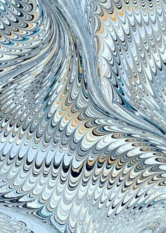 Modern 20th c. marbled paper, Icarus wave pattern