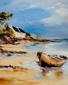 Adult painting camp on the Adriatic – Krisztina – Join in the world of pin Watercolor Landscape, Abstract Landscape, Watercolor Art, Seascape Paintings, Landscape Paintings, Painting Abstract, Pinterest Pinturas, Sailboat Painting, Boat Art