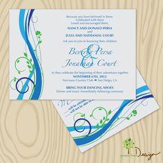 Custom Wedding Invitation  teal blue green by GreenTreeWedding, $2.50