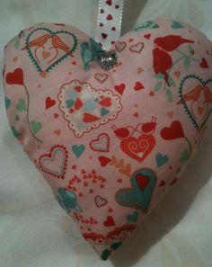 Valentine Gift / Love Birds And Hearts Fabric Lavender Bag- Handmade in Home, Furniture & DIY, Home Decor, Other Home Decor | eBay