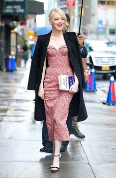 Emma Stone looking chic in rain in NYC- See Full Album