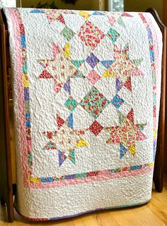 Quilt Baby Girl Handmade Old New 30s by Lecien Crib Nursery Lap Patchwork Throw Vintage on Etsy, $150.00