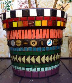 Vaso, pot, macetas em mosaico, by Schandra Mosaicos