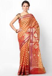 Supernet Cotton Fancy Contrast Zari Work Banarasi Orange Saree