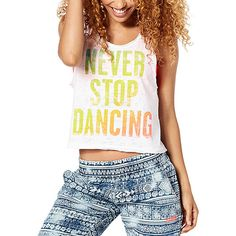 Zumba® Wear it Out White Never Stop Dancing Crop Tank ($22) ❤ liked on Polyvore featuring tops, plus size, white tank, crop top, white top, crop tank and zumba tops