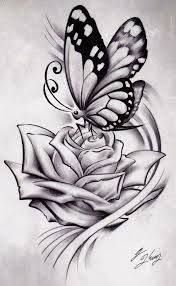 Billedresultat for black rose and butterfly tattoo