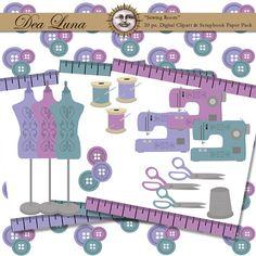 Cute sewing digital scrapbook paper and clipart pack
