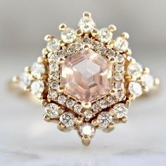Rose Morganite & Diamond Ring - Gem Breakfast