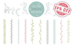 50% OFF - Set of 10 floral brushes by Blogoodf on @creativemarket