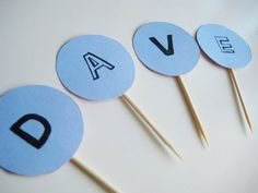 letters cupcake flags/toppers www.thechubbybunny.ca